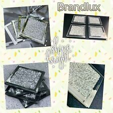 4xSquare Mirrored Crushed Crystal Coasters Sparkle Table Mats Diamond Glitter UK