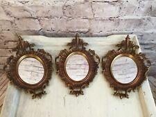 Vintage Plastic Hollywood Regency Art Deco Ornate Oval Wall Mirrors A746 Set 3