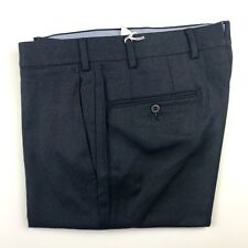 PAL ZILERI Navy Blue Super 100s Wool Flannel Slim Mens Flat Front Dress Pants 32