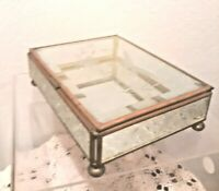 Beveled Glass Trinket Box Jewelry Etched Bird Ball Feet Old FL Vanity Mirror VTG