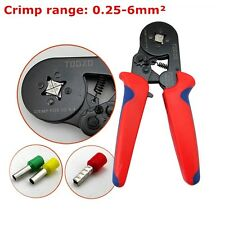 0.25-6mm²Ratchet Crimping Pliers Bootlace Ferrule Terminal Crimper Wire Tool Red