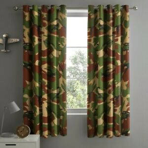 Camouflage EYELET Pair of Curtains Green Army Lined Ring Top Camo Print Curtains