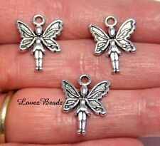 15 SILVER METAL FAIRY CHARMS-FANTASY-WHIMSY-PENDANTS-FINDINGS-JEWELRY