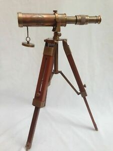 Nautical Marine Spyglass Brass Telescope With Wooden Tripod Stand Replica Gift