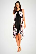ex Wallis Split Front Asymmetric Floral Chiffon Dress NEW size 10-12-14-16-18-20