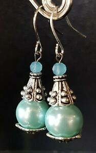 dangle earrings, surgical stainless steel hooks silver, pale BLUE, AUST made