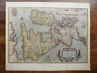 1570 Ortelius Map Great Britain England Wales Scotland Ireland Genuine Antique