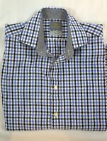 Thomas Dean Long Sleeve Classic Fit Size M Plaid Pasley Flip Cuff Shirt $110