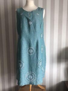 Lovely Debenhams John Rocha Aquamarine Ladies Cotton Linen Shift Dress Size 20
