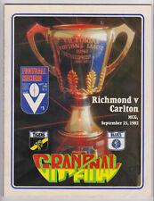 1982 Grand Final record Richmond vs Carlton unmarked