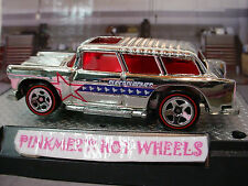 SUPER CHROMES Hot Wheels CLASSIC CHEVY NOMAD☆Chrome/Red;Redlines☆LOOSE☆40th Anni
