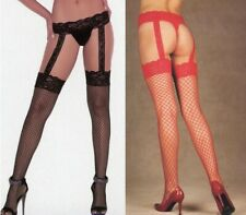 Women Garterbelt Stockings Diamond Net 2 Sizes Black or Red Elegant Moments 1860