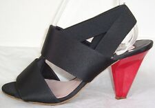 CHLOE Black Satin Strappy Red Heel Sandals Shoes 39 9