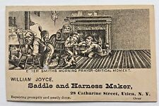 Utica NY 1879 SADDLE & HARNESS MAKER Trade Card w BUSINESS DIRECTORY Temperance