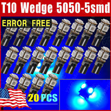 20x Ultra Blue Canbus ERROR FREE T10 5050 5 SMD Wedge LED Light bulb W5W 194 168