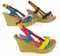 Wedge Heel Sandals Womens Multi Coloured Soft Strappy Open Toe Shoes UK 3-8