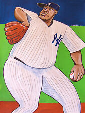 C C SABATHIA PAINTING new york yankees pitcher baseball glove uniform pinstripes