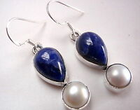 Genuine Pearl Sodalite Dangle Teardrop 925 Sterling Silver Drop Earrings New
