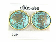 Carol Dauplaise Turquoise Colored Clip On Earrings Vintage Jewelry Lovely