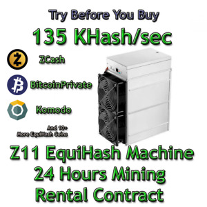 Rent Z11. 135 Kh/sec Guaranteed 24h Mining Contract Lease Equihash (Zcash) Miner