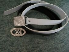 2  faux leather belts with gorgeous faux diamante clasps - black, white