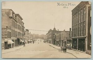 Niles Michigan~Main Street~Furniture~Hotel~Vienna Bakery~1912 CR Childs RPPC