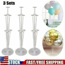 3Pcs 7 Tubes LED Balloons Stand Base Sticks Holder Column Birthday Party Decor
