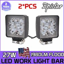 2X 4 Inch 27W Square LED Work Light Offroad Boat Tractor Truck ATV Flood 12V 24V