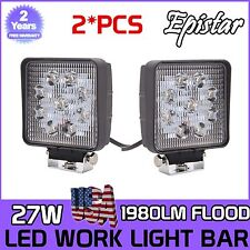 2X 27W Epistar LED Work Light Bar Flood Square 4WD Offroad ATV Jeep 12V 24V Lamp