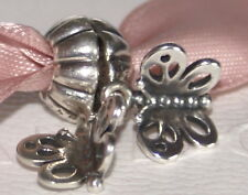 Genuine Pandora Sterling Silver Pair of Butterflies Pendant/Drop Charms