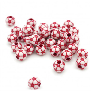 20 FOOTBALL PONY BEADS - LIMITED OF STOCK, ONCE ITS GONE, ITS GONE (red)