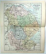 Original Philips 1891 Map of The County of Lincoln, England