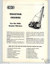 1956 PAPER AD Carco Tractor Crane Logging Equipment Winch Winches Rigging