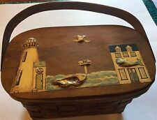 Rare vintage/antique basket,likely hand made,laquered lake images on cover  T293