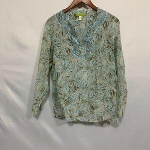 Sigrid Olsen Womens Multicolor Long Sleeve Split Neck Floral Tunic Top Size L