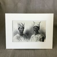 1890 Stampa Bambara Tribe Mande Africano Tribale Copricapo Africa Antico Art