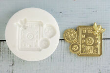Silicone Mould, Steampunk Clock Face, Cogs, Gears, Fondant, resin, Fimo M097