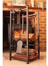 Fireplace Fire Wood Rack / Holder with Brush Shovel Poker & Tongs - Black *NEW