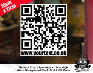 QR CODE sticker your WEBSITE stickers Personalised shop car van MEDIUM & LARGE