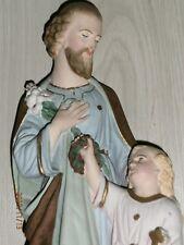 ANCIENNE STATUE RELIGIEUSE/SAINT JOSEPH ET ENFANT JESUS/PLATRE PEINT/H.46 cm/ N9