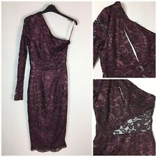 ASOS Pink Plum One Shoulder Party Dress UK 8 Cut Out Midi Stretch Lace Metallic