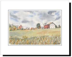 Field and Barn in Bucks County PA, Original Watercolor Mounted Print 11x14