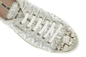 NEW MIU MIU PRADA SILVER LEATHER CRYSTALS SNEAKERS LOGO SHOES 41/US 11