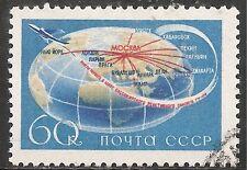 """Russia Stamp - Scott #2086/A1102 60k Blue, Red & Bis """"Aviation"""" Canc/LH 1958"""