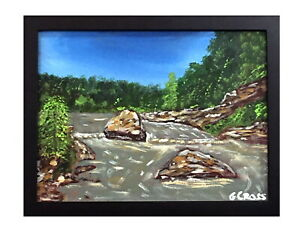 Texas Hill Country Landscape Painting Framed Acrylic Wall Art Fast Free Shipping