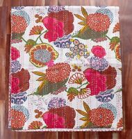 100% Cotton Kantha Quilt Single Size Bedsheet White Tropicana Bedcover Bedspread