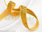 "10yards 3/8"" 10mm Bling Ribbon Bows Wedding Party Decoration Sew Gold Yellow"