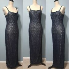 VTG Jessica McClintock Gunne Sax Gown Formal Evening Dress Sheer Blue 6 Silver