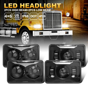 4X6 Inch LED Headlights 2PC High Beam+2PC Low Beam For Chevy C10 C20 C30 K10 K20