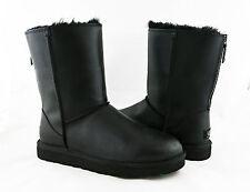 UGG Australia Classic Short Zip Black Leather Fur Sz 9 Boots 1013148